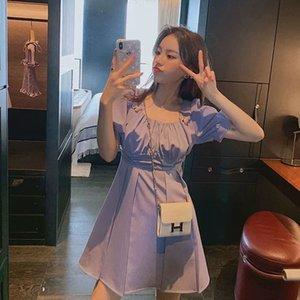 Online Berühmtheit Mädchen Quadratkragen Mitte Länge A- DRESS Schmetterling Schmetterling A- Linie Kleid 2020 Sommer-neue Art und Weise Basis Rock
