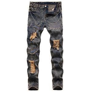 Casual Men Slim Hole Zipper Balck Jeans Pants Men Ripped Patch Solid Skinny Jeans Destroyed Frayed Slim Fit Denim Pant