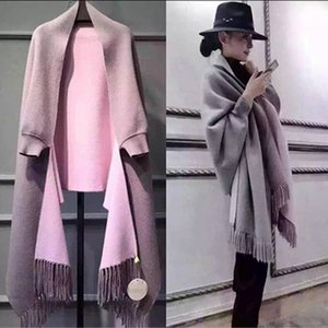 New autumn and winter ladies double-sided shawl dual-use thickening with long sleeves shawl cashmere cape jacket wholesale