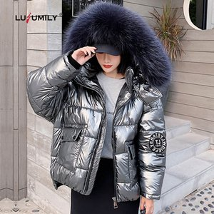 Lusumily Female Jacket New 2020 Winter Jackets And Coats Women Warm Parka Big Fur Warm White Duck Dow Jacket Waterproof Outwear