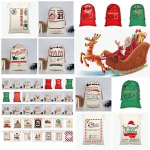 hot Christmas Drawstring Bags Large Size Santa Claus Santa Sack Bags Party Favor Supplies Canvas bag Christmas Decorations T2I51279