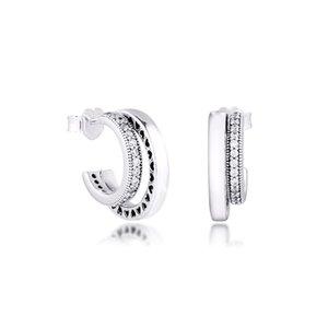CKK pendiente Pave doble aro pendientes de plata esterlina 100% para las mujeres Brincos Kolczyki Pendientes accesorios de mujer