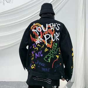 LKdyL marque nationale de la mode peint nationalité graffiti imprimé mode lettre du groupe ethnique hiphop lâche hommes manteau denim rue Coat