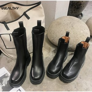 WEALTHY Women Martin Boots Black Chunky Heel Ankle Boots Autumn Slip on Round Toe Short Female Platform Woman Shoes