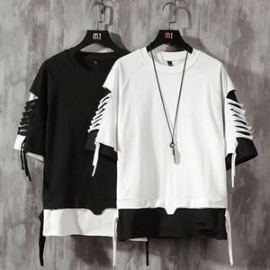 Camiseta de manga corta de los hombres de Hip Hop de algodón para hombre camiseta más el tamaño O-cuello de la tapa del verano tee causal Moda suelta camisetas la manera ocasional