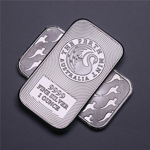 Australia Kangaroo Peth Mint 1OZ 999 Value Fine Silver Plated Brass Bullion Bar Metal Coin Collectible 20pcs lot Free shipping Non Magnetic