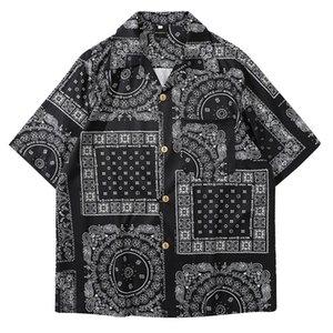 MoneRffi كيمونو نمط قميص رجالي 2020 Janpanese الناعمة نمط طباعة فضفاض المتناثرة قمصان الرجال زوجين الكيمونو يوكاتا بلايز الصيف