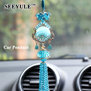 1pc SEEYULE Fashion Hanging Car Styling Pendant Crystal Beautiful Car Ornament Decoration Gift for Women's Cars