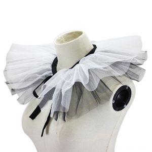 LkTTl Schwarz und Gaze Palace Garn dekorativer Schwarzweiss-Gaze Palace Weiß Garn gefälschte gefälschte Kragen dekorative Kragen