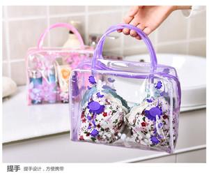 pvc acabado bolsa de lavado transparente floral, bañando bolsa de cosméticos, bolsa de lavado del almacenaje del recorrido al aire libre, bolsa de lavado a prueba de agua