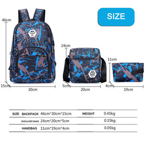 3Pcs Set Outdoor Bags Camouflage Travel Backpack Unisex Computer Bags Oxford Brake Chain Middle School Student Bag 3 Colors In Stock DHL
