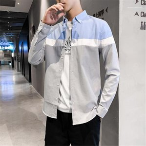Tops Casual Mens Designer Shirts Teenagers Long Sleeev Solid Color Patchwork Loose Shirts Fashion Autumn Mens