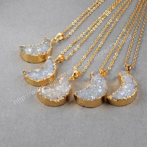 BOROSA 10Pcs lot New Arrival Fashion Gold Color Moon Natural Crystal Titanium AB Druzy Pendant Beads G0388 0927