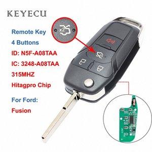 Keyecu Nouveau flip télécommande intelligente télécommande porte-clé 4 boutons 315MHz Fusion 2013 2014 2015 2016 FCC ID: N5F A08TAA Folb #