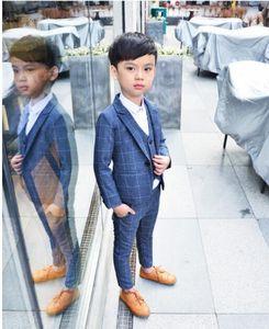 Мальчик Lattice Красный Синий Серый костюм Свадебные одежды пальто + брюки + жилет + галстук Детский костюм Stage Performance хозяевах Show Boy Suits 90-140 T200819