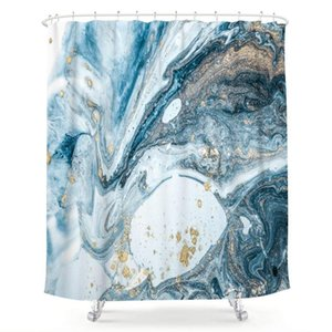 Abstract Blue Swirls Marble Ripples Shower Curtain Ocean Natural Luxury Gold Teal Agate Art Printed Fabric Waterproof Bathtub