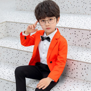 New Fashion Boys Formal Suits Party Piano Performance Host Kids Blazer Pants Clothing Set Tuxedo Suit School Ceremony Costume