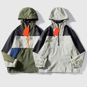 Mens Casacos corta-vento de outono zipper Hoodies emenda Bordado Brasão Casual Casacos Rua casaco de inverno casal fina jaqueta de algodão