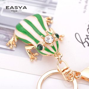 Creative New Frog Prince alliage de zinc pendentif porte-clés de la chaîne sac Fashion strass couronne sac de mode grenouille pendentif décoratif JRVVT
