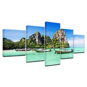 캔버스 포스터 거실 벽 아트 5 조각 푸켓 풍경 나무 보트 예술 그룹은 그림 홈 인테리어 (없음 프레임)를 인쇄 모듈 형 HD 회화