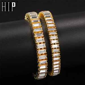 Hip Hop 9.6mm Bling Iced Out Bling Полный Rhinestone браслет Геометрическая CZ камень Цепные браслеты для мужчин Ювелирные изделия