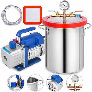 4 CFM-Vakuumpumpe 2 Gallon Vakuumkammer Entgasen Kit 1 / 3HP einstufig 220ml 1720RPM 5Pa einstufig T7IY #