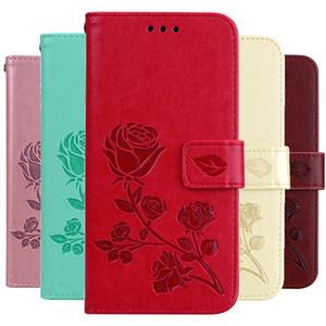 iPhone Para o Caso Rose Flor carteira Virar 11 Pro X XR Cartão Max XS titular do livro de couro iPhone Para o Caso 8 7 6 6S Além disso SE2020 Tampa