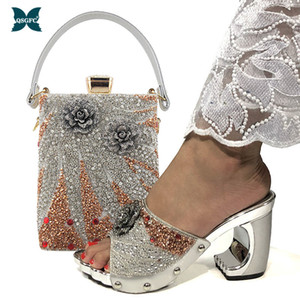 New Arrival Fashionable Italian Shoes and Bag Sets Silver Color Women's Shoes with Appliques for African women sandals 200921