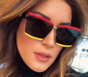 QPeClou 2020 Yeni Moda Çift Renkli Kare Güneş Kadınlar Marka Tasarımcı Metal Boy Güneş Gözlükleri Erkekler Kaş Gözlükler