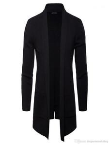Ärmel Oberbekleidung Beiläufige Mäntel Mode Strick mit Taschenmänner Jacken Frühling Herbst Herbst Mens Open Stitch Solid Stehkragen lang