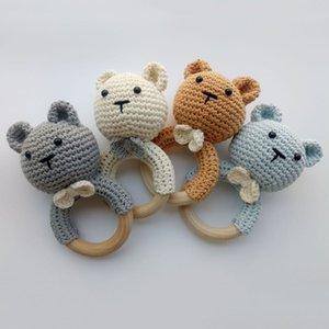 Fait à la main non toxique bricolage ours en bois de hêtre organique Crochet Teether bois rehausseurs naturels pour bébés Jouets Crochet Anneau de dentition