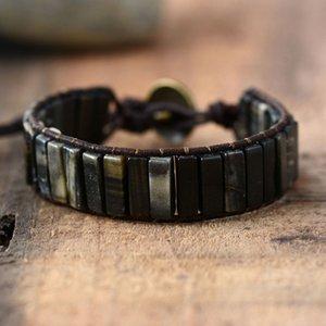 Wrap nuovo braccialetto Boho Bracciali tubo del cuoio di figura di pietra naturale singolo Semi Precious Stones Beadwork paio braccialetto Dropship