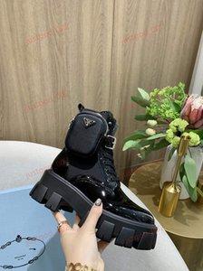 Prada Martin boots de las nuevas mujeres de la hebilla de la cremallera Negro de cuero genuino botas de los zapatos del bolso Casual Top El último pulso triple Martin botas 35-40