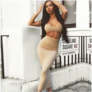 Kleider Art und Weise der neuen Art-Sling-Brust-Verpackungs-Bauch Buttom lange Rock-Set Designer weibliche sexy dünne Rock-Klagen der Frauen Zweiteiler