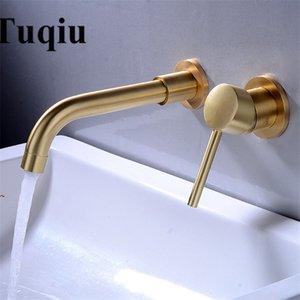 Tuqiu Duvar Havzası Musluk Tek Kolu Lavabo Musluk Banyo Mikser dokunun Sıcak Soğuk Lavabo Rotasyon Bacalı Fırçalı Gold Monteli