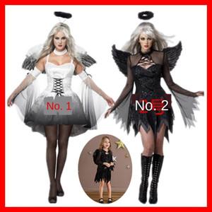 NPPxN de Halloween traje traje de ángel demonio ropa Negro gris Headwear niños ropa blanca entre padres e hijos adultos con alas de ángel headdre