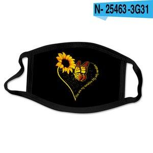 24style Ayçiçeği 3D Dijital Yüz maskeleri Elastik Kumaş Kumaş Ağız yazdır Maske Tekrar Kullanılabilir Karşıtı Haze toz geçirmez Kapak mascarilla GGA3688-10 Maske