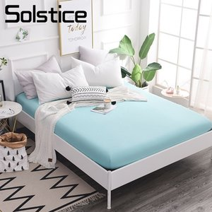Solstice Home Textile Fitted Sheet Single Double King Queen Bed Mattress Cover Girl Kid Teen Woman Blue Solid Color Simple Sport