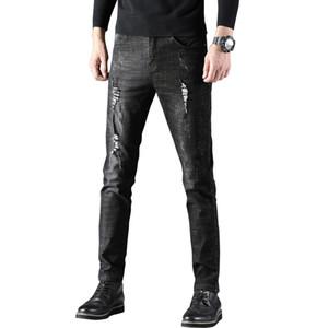 Uomini strappato jeans uomo casuale blu Skinny SlimFit denim pantaloni del motociclista Hip Hop Jeans con sexy Holel Streetwear pantaloni