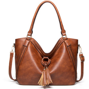 Ladies Classic Diagonal Tassel Bag Retro Women Crossbody Leather Tote Designer Bags