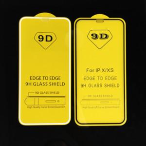 Pantalla 9D la cubierta completa de vidrio templado completa Pegamento 9H protector para el iPhone 11 Pro Max XS XR X 8 7 Samsung S10 E A10 A50 A70 A90 M20 Huawei P30
