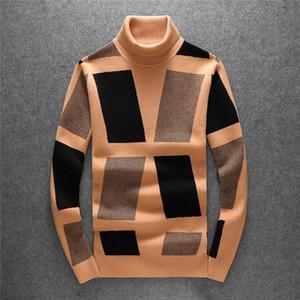 vêtements griffés hommes célèbres de pull-over à col roulé l'automne hiver chandail et vêtements d'hiver en tricot épais à manches longues str bloquant la couleur