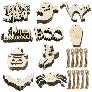 Halloween DIY Gift Wooden Crafts Halloween Decorations Holiday Pendant Party Ornaments Home Props Old-fashioned XMas Decorations HH9-3267