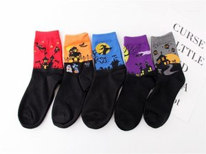 Clothing Mans Womens Halloween Pumpkin Socks Casual Ankle Length Colorful Ladies Cartoon Socks Female Contrast Color