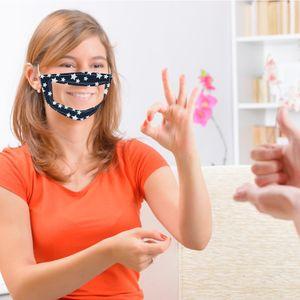 Nouveau Designer Face Masque Polka Dot Lattice à cinq pointes Stripe Floral Sourd-Mute Coton Visualisation du masque de la Lèvre tout-en-un