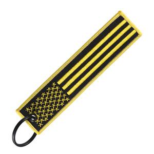 Oro e Grey US Flag portachiavi cinghia con portachiavi EDC per Moto Scooter Macchine e Patriotic American Flag regalo Portachiavi