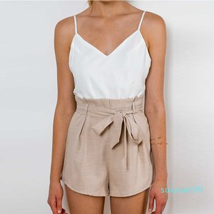 Hot Sale Summer white elegant jumpsuit romper Women bow one piece casual playsuit Sexy backless short overalls girls