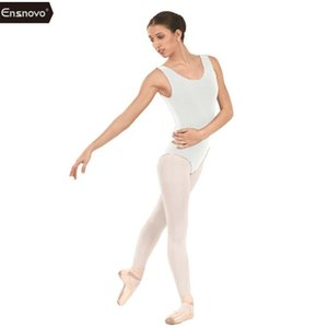 Ensnovo Lycra Spandex Léotard Femmes Blanc Ballet Leotard adulte Gymnastique Costume Haut Backless Bodysuit Custom Skin Dancewear