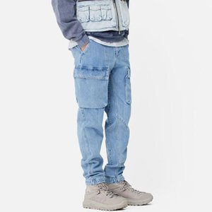 20SS KH Loose Denim Trousers Straight Elastic Waist Street Washed Solid Jeans Fashion Casual Simple Denim Pants Zipper jeans