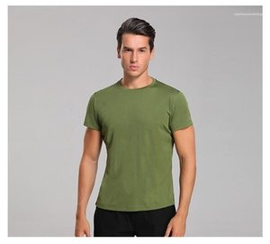 Male Casual Short Sleeved Tops Fitness Regular Length Pure Color Tees Mens Sport O Neck Tshirts Designer